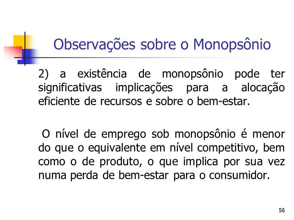 56 Observações sobre o Monopsônio 2) a existência de monopsônio pode ter significativas implicações para a alocação eficiente de recursos e sobre o be