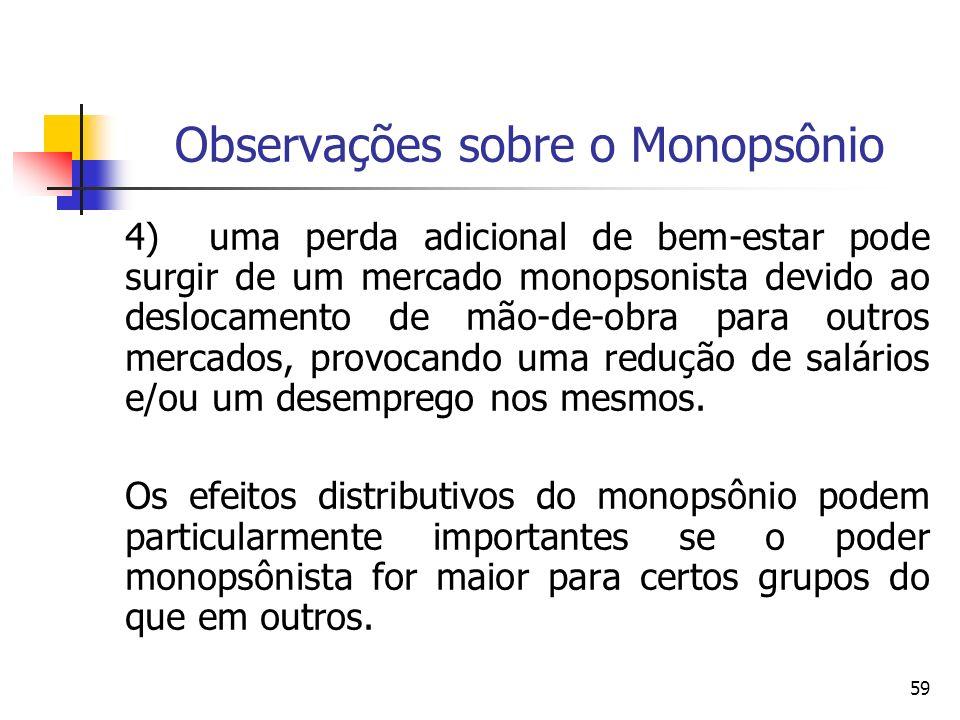 59 Observações sobre o Monopsônio 4) uma perda adicional de bem-estar pode surgir de um mercado monopsonista devido ao deslocamento de mão-de-obra par