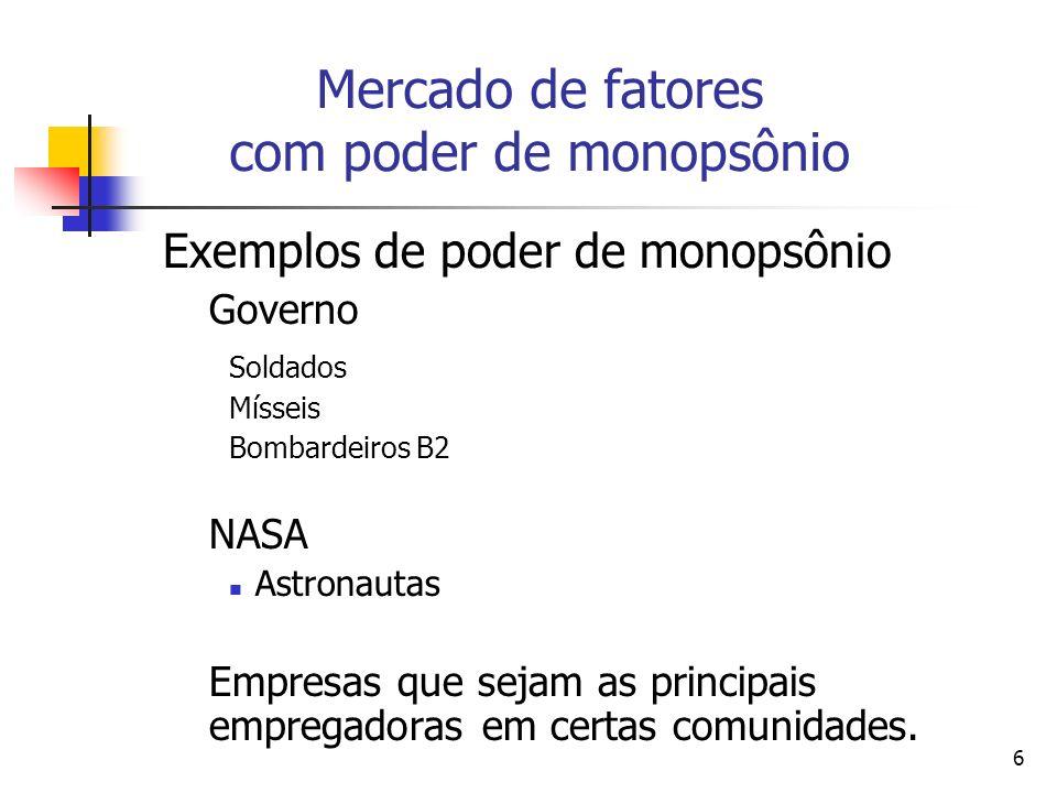 6 Exemplos de poder de monopsônio Governo Soldados Mísseis Bombardeiros B2 NASA Astronautas Empresas que sejam as principais empregadoras em certas co