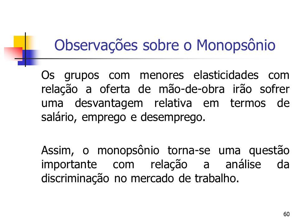 60 Observações sobre o Monopsônio Os grupos com menores elasticidades com relação a oferta de mão-de-obra irão sofrer uma desvantagem relativa em term