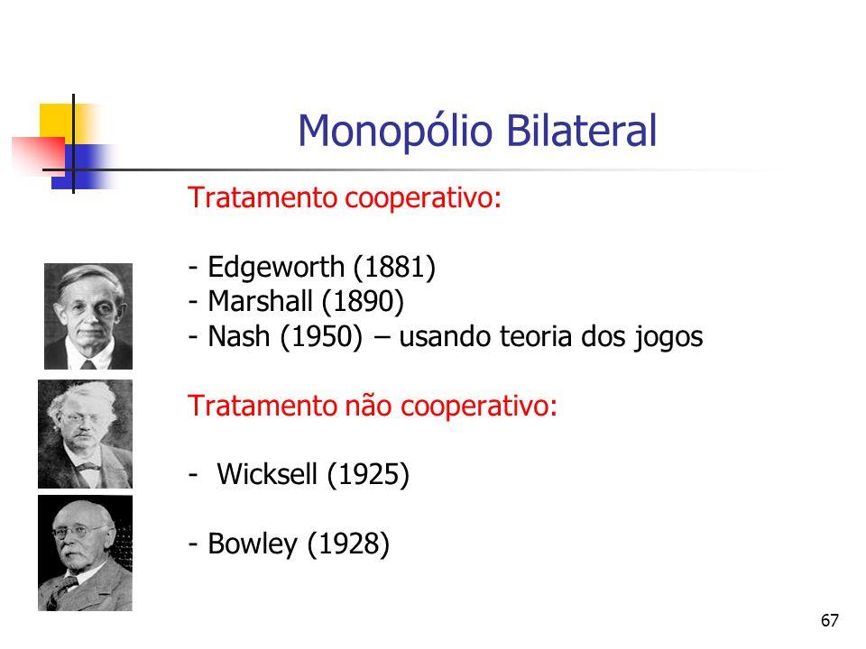 67 Monopólio Bilateral Tratamento cooperativo: - Edgeworth (1881) - Marshall (1890) - Nash (1950) – usando teoria dos jogos Tratamento não cooperativo