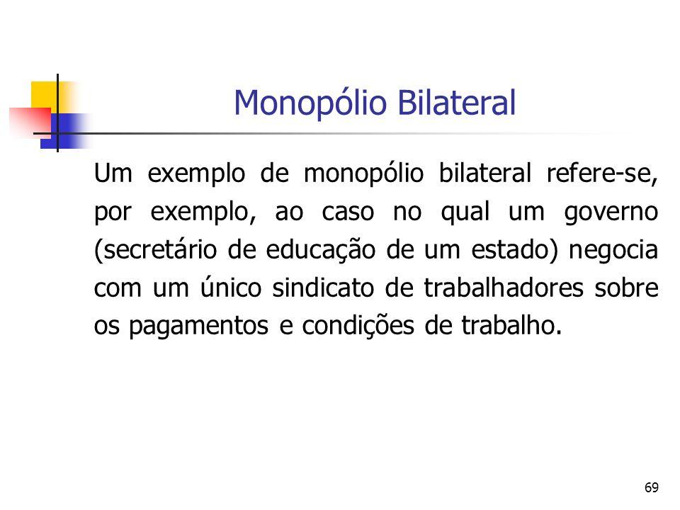 69 Monopólio Bilateral Um exemplo de monopólio bilateral refere-se, por exemplo, ao caso no qual um governo (secretário de educação de um estado) nego