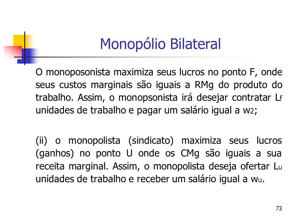 73 Monopólio Bilateral O monoposonista maximiza seus lucros no ponto F, onde seus custos marginais são iguais a RMg do produto do trabalho. Assim, o m