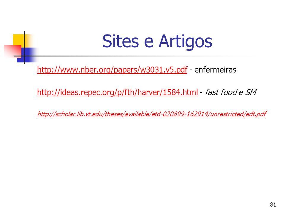 81 Sites e Artigos http://www.nber.org/papers/w3031.v5.pdfhttp://www.nber.org/papers/w3031.v5.pdf - enfermeiras http://ideas.repec.org/p/fth/harver/15
