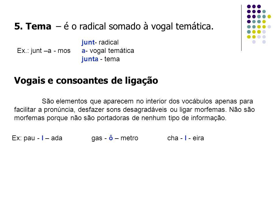 5. Tema – é o radical somado à vogal temática. Ex.: junt –a - mos junt- radical a- vogal temática junta - tema Vogais e consoantes de ligação São elem