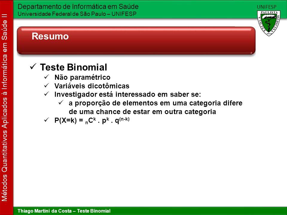 Thiago Martini da Costa – Teste Binomial Departamento de Informática em Saúde Universidade Federal de São Paulo – UNIFESP UNIFESP Métodos Quantitativo