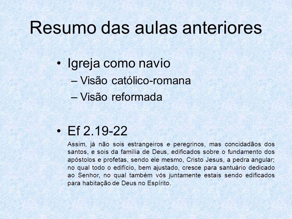 Resumo das aulas anteriores Igreja como navio –Visão católico-romana –Visão reformada Ef 2.19-22 Assim, já não sois estrangeiros e peregrinos, mas concidadãos dos santos, e sois da família de Deus, edificados sobre o fundamento dos apóstolos e profetas, sendo ele mesmo, Cristo Jesus, a pedra angular; no qual todo o edifício, bem ajustado, cresce para santuário dedicado ao Senhor, no qual também vós juntamente estais sendo edificados para habitação de Deus no Espírito.