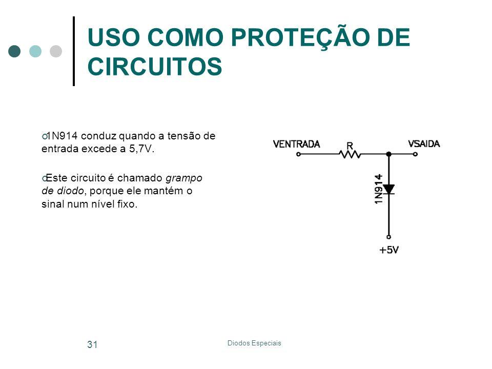 Diodos Especiais 31 USO COMO PROTEÇÃO DE CIRCUITOS 1N914 conduz quando a tensão de entrada excede a 5,7V. Este circuito é chamado grampo de diodo, por