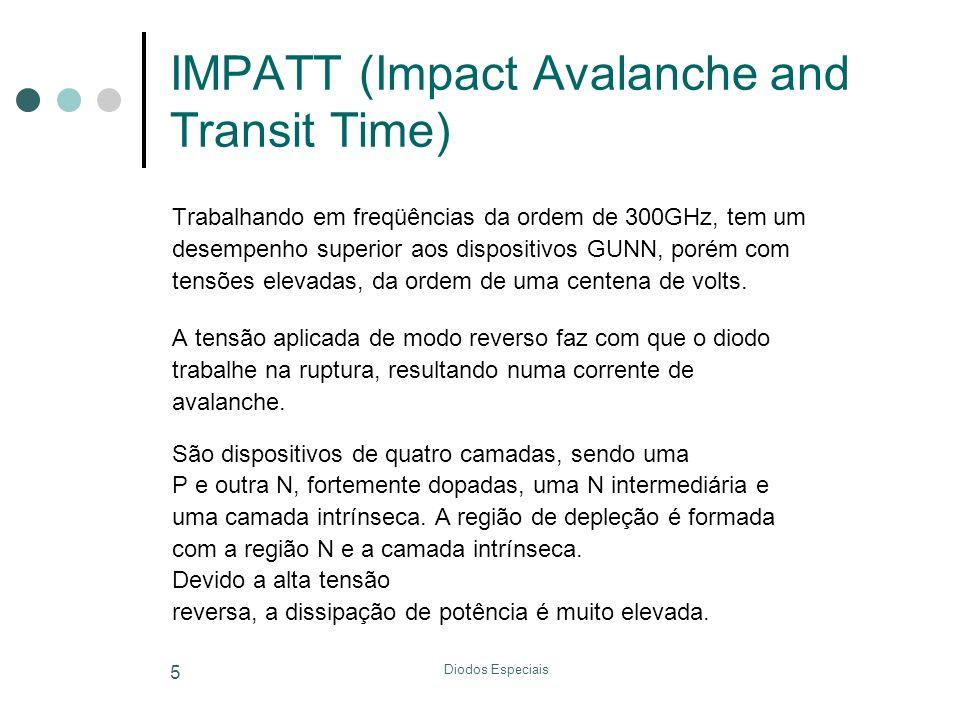 Diodos Especiais 5 IMPATT (Impact Avalanche and Transit Time) Trabalhando em freqüências da ordem de 300GHz, tem um desempenho superior aos dispositiv