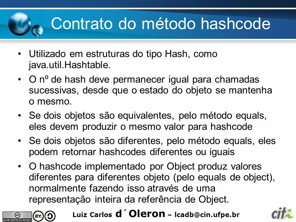 Luiz Carlos d´Oleron – lcadb@cin.ufpe.br Contrato do método hashcode Utilizado em estruturas do tipo Hash, como java.util.Hashtable. O nº de hash deve