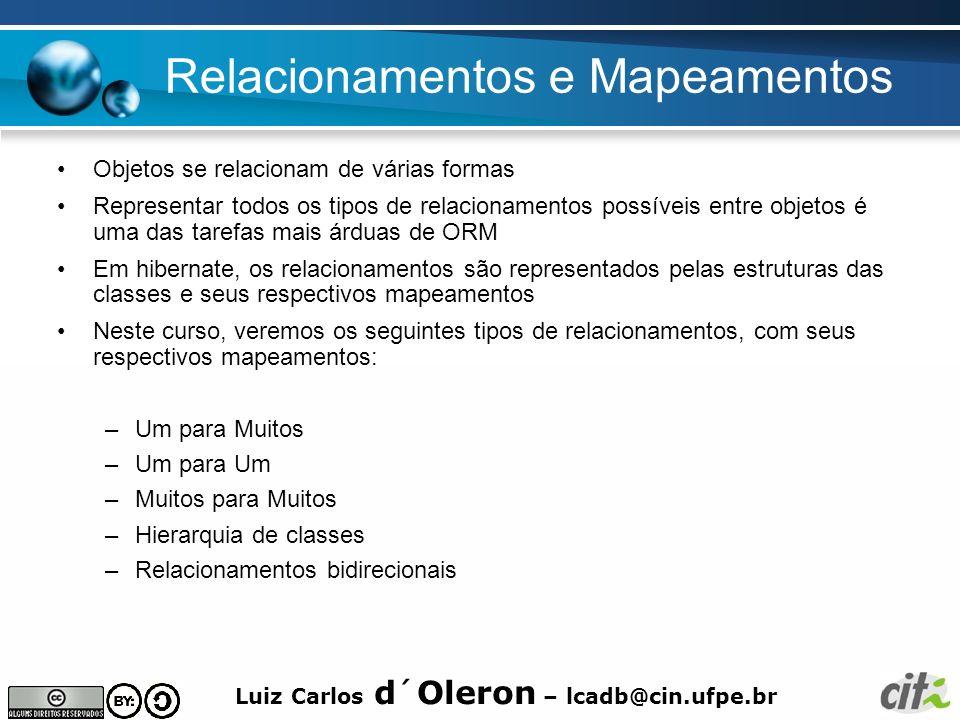 Luiz Carlos d´Oleron – lcadb@cin.ufpe.br Relacionamentos e Mapeamentos Objetos se relacionam de várias formas Representar todos os tipos de relacionam