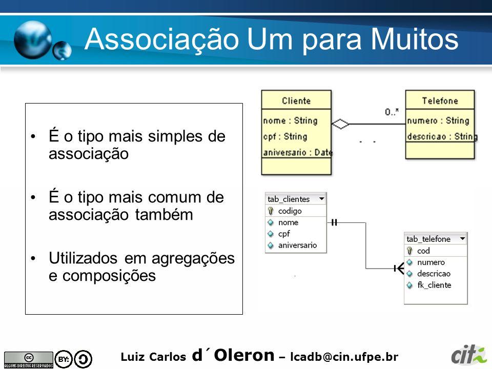 Luiz Carlos d´Oleron – lcadb@cin.ufpe.br Associação Um para Muitos É o tipo mais simples de associação É o tipo mais comum de associação também Utiliz