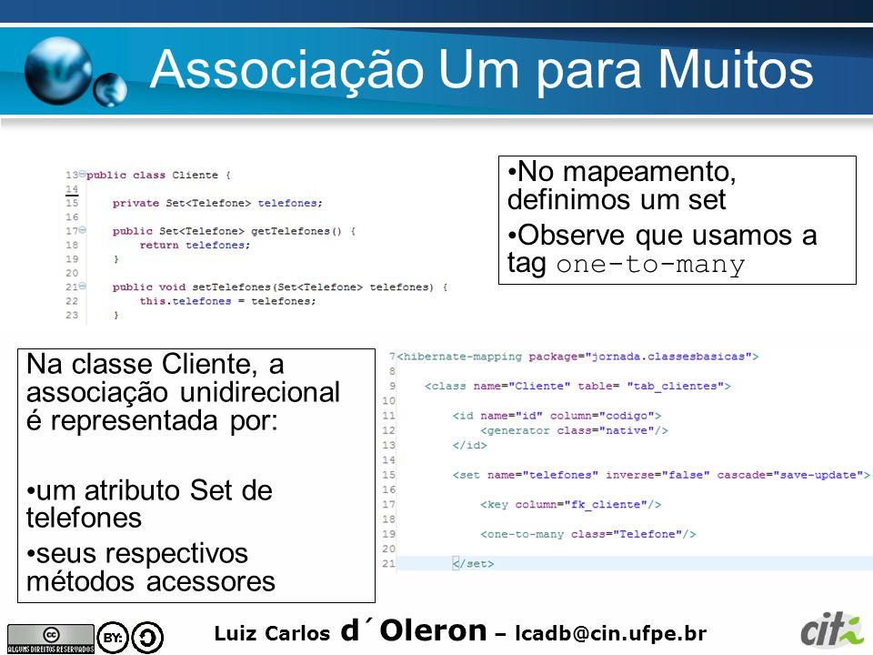 Luiz Carlos d´Oleron – lcadb@cin.ufpe.br Associação Um para Muitos Na classe Cliente, a associação unidirecional é representada por: um atributo Set d