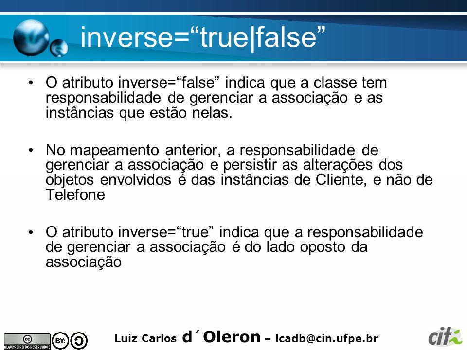Luiz Carlos d´Oleron – lcadb@cin.ufpe.br inverse=true false O atributo inverse=false indica que a classe tem responsabilidade de gerenciar a associaçã