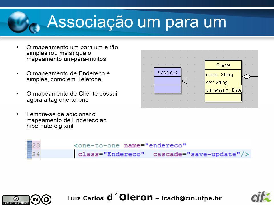 Luiz Carlos d´Oleron – lcadb@cin.ufpe.br Associação um para um O mapeamento um para um é tão simples (ou mais) que o mapeamento um-para-muitos O mapea