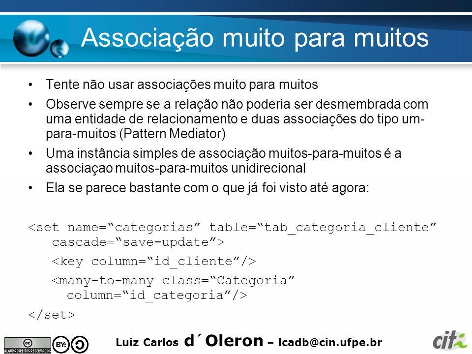 Luiz Carlos d´Oleron – lcadb@cin.ufpe.br Associação muito para muitos Tente não usar associações muito para muitos Observe sempre se a relação não pod