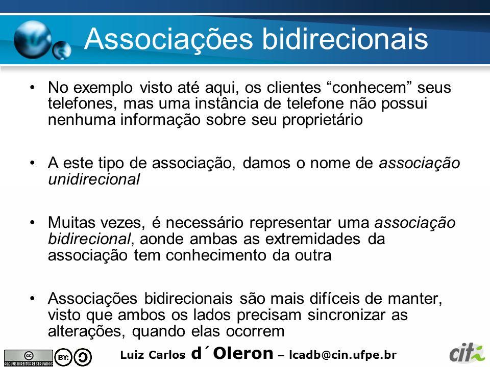 Luiz Carlos d´Oleron – lcadb@cin.ufpe.br Associações bidirecionais No exemplo visto até aqui, os clientes conhecem seus telefones, mas uma instância d