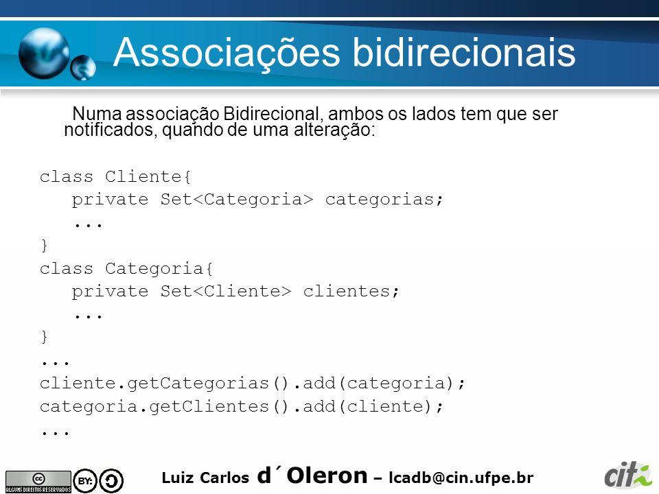 Luiz Carlos d´Oleron – lcadb@cin.ufpe.br Associações bidirecionais Numa associação Bidirecional, ambos os lados tem que ser notificados, quando de uma