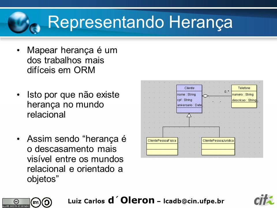 Luiz Carlos d´Oleron – lcadb@cin.ufpe.br Representando Herança Mapear herança é um dos trabalhos mais difíceis em ORM Isto por que não existe herança