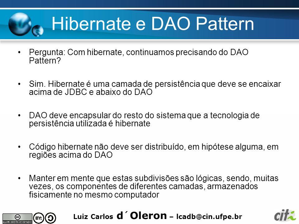 Luiz Carlos d´Oleron – lcadb@cin.ufpe.br POJOs Hibernate fará a persistência de Objetos Java, em particular, Hibernate fará persistência de POJO´s Mais o que é um POJO.