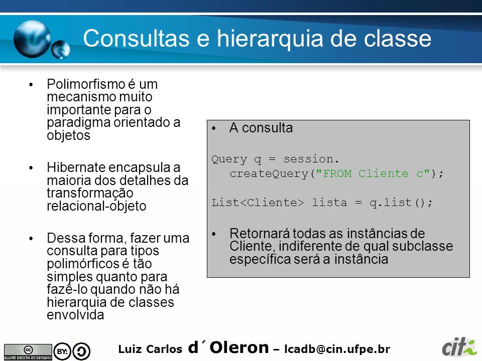 Luiz Carlos d´Oleron – lcadb@cin.ufpe.br Consultas e hierarquia de classe Polimorfismo é um mecanismo muito importante para o paradigma orientado a ob