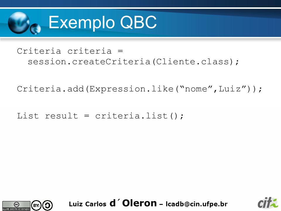 Luiz Carlos d´Oleron – lcadb@cin.ufpe.br Exemplo QBC Criteria criteria = session.createCriteria(Cliente.class); Criteria.add(Expression.like(nome,Luiz