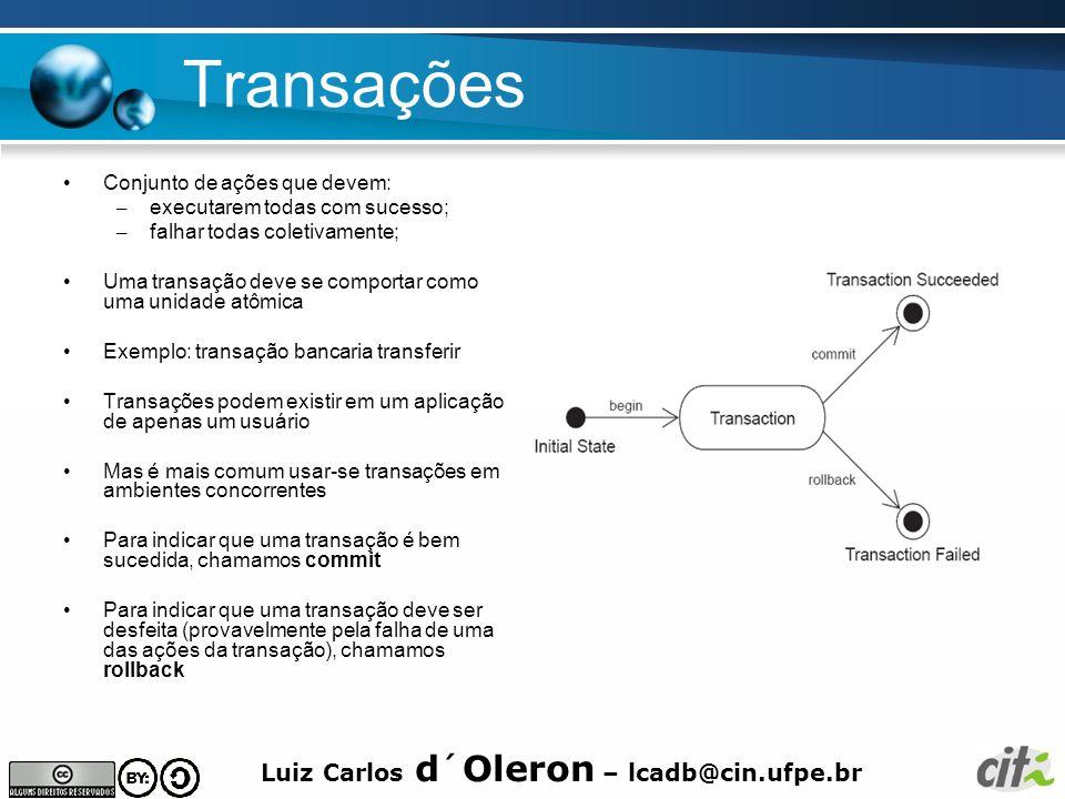 Luiz Carlos d´Oleron – lcadb@cin.ufpe.br Transações Conjunto de ações que devem: – executarem todas com sucesso; – falhar todas coletivamente; Uma tra