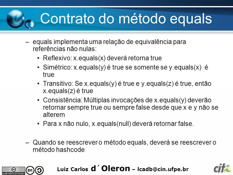 Luiz Carlos d´Oleron – lcadb@cin.ufpe.br Contrato do método equals –equals implementa uma relação de equivalência para referências não nulas: Reflexiv