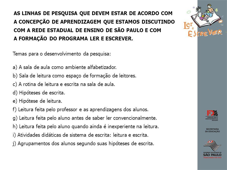 AS LINHAS DE PESQUISA QUE DEVEM ESTAR DE ACORDO COM A CONCEPÇÃO DE APRENDIZAGEM QUE ESTAMOS DISCUTINDO COM A REDE ESTADUAL DE ENSINO DE SÃO PAULO E CO