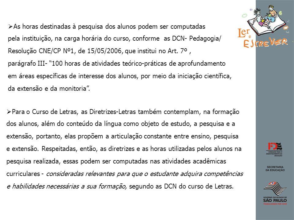 As horas destinadas à pesquisa dos alunos podem ser computadas pela instituição, na carga horária do curso, conforme as DCN- Pedagogia/ Resolução CNE/