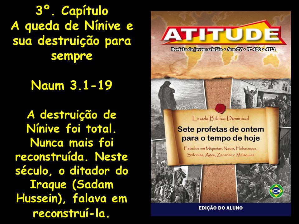 3º. Capítulo A queda de Nínive e sua destruição para sempre Naum 3.1-19 A destruição de Nínive foi total. Nunca mais foi reconstruída. Neste século, o