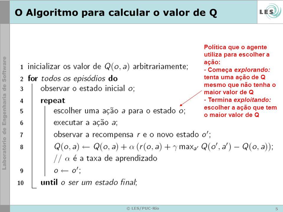 5 © LES/PUC-Rio O Algoritmo para calcular o valor de Q Política que o agente utiliza para escolher a ação: - Começa explorando: tenta uma ação de Q mesmo que não tenha o maior valor de Q - Termina exploitando: escolher a ação que tem o maior valor de Q