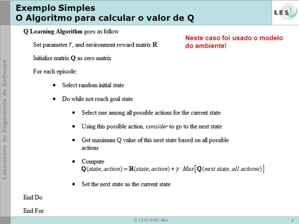 7 © LES/PUC-Rio Exemplo Simples O Algoritmo para calcular o valor de Q Neste caso foi usado o modelo do ambiente!