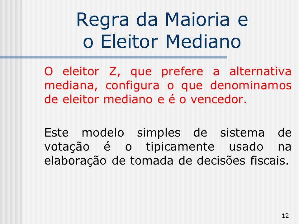 12 Regra da Maioria e o Eleitor Mediano O eleitor Z, que prefere a alternativa mediana, configura o que denominamos de eleitor mediano e é o vencedor.