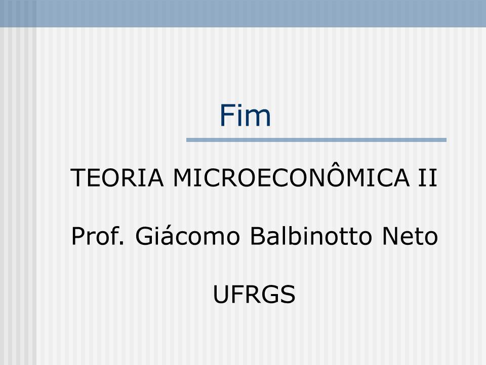 Fim TEORIA MICROECONÔMICA II Prof. Giácomo Balbinotto Neto UFRGS