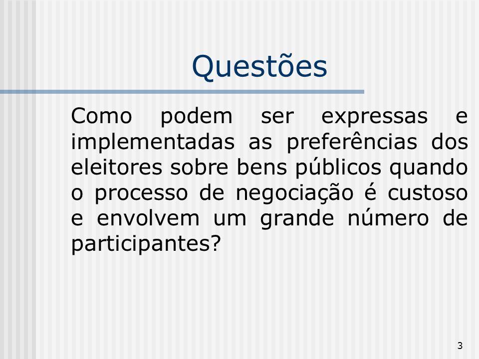 3 Questões Como podem ser expressas e implementadas as preferências dos eleitores sobre bens públicos quando o processo de negociação é custoso e envolvem um grande número de participantes