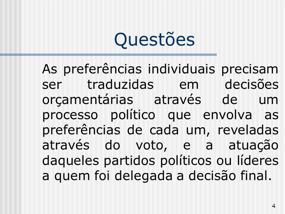 4 Questões As preferências individuais precisam ser traduzidas em decisões orçamentárias através de um processo político que envolva as preferências de cada um, reveladas através do voto, e a atuação daqueles partidos políticos ou líderes a quem foi delegada a decisão final.