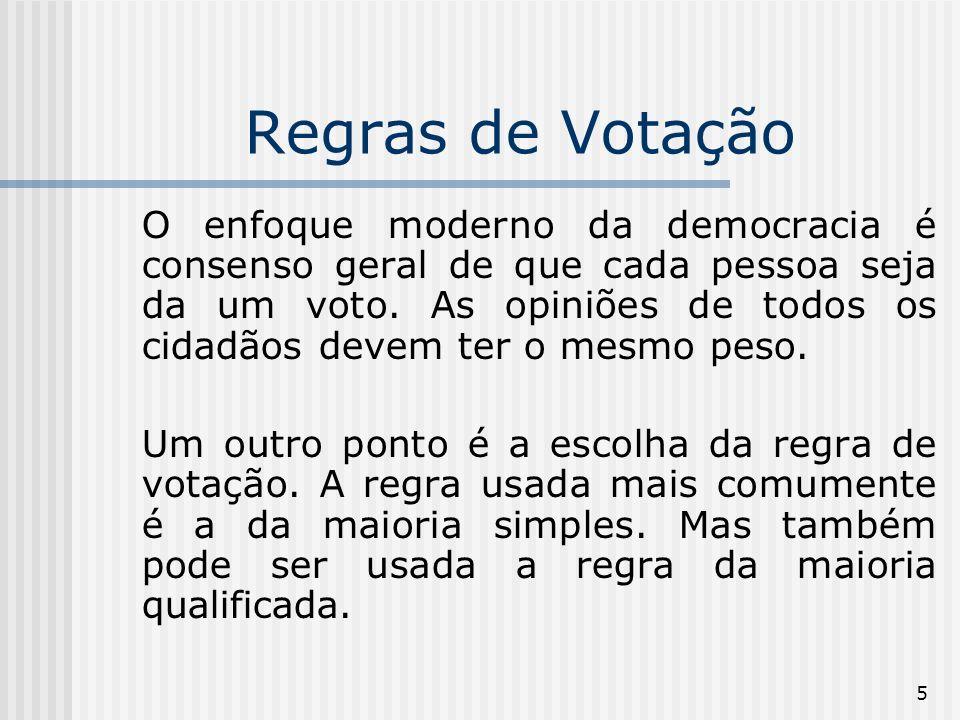 5 Regras de Votação O enfoque moderno da democracia é consenso geral de que cada pessoa seja da um voto.