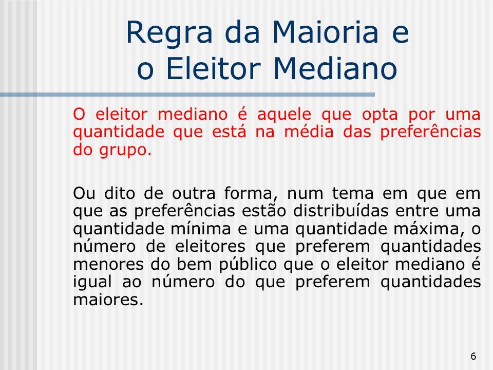 7 Regra da Maioria e o Eleitor Mediano Eleitor AEleitor CEleitor B Q1 Q2Q3 Eleitor Mediano