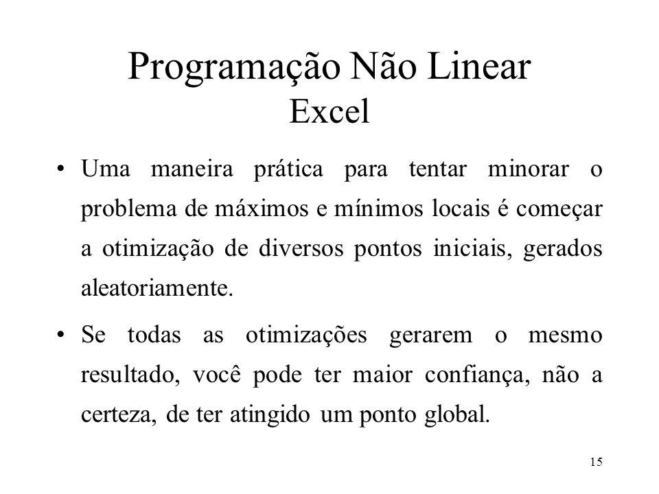 Programação Não Linear Excel Uma maneira prática para tentar minorar o problema de máximos e mínimos locais é começar a otimização de diversos pontos