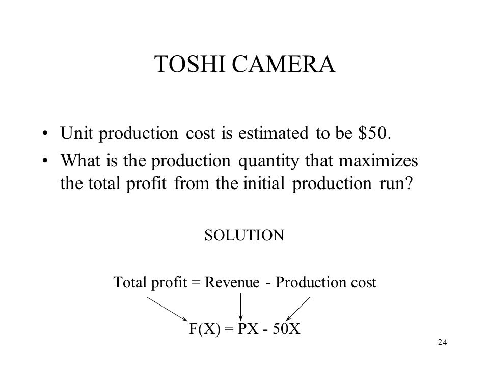 Unit production cost is estimated to be $50. What is the production quantity that maximizes the total profit from the initial production run? SOLUTION