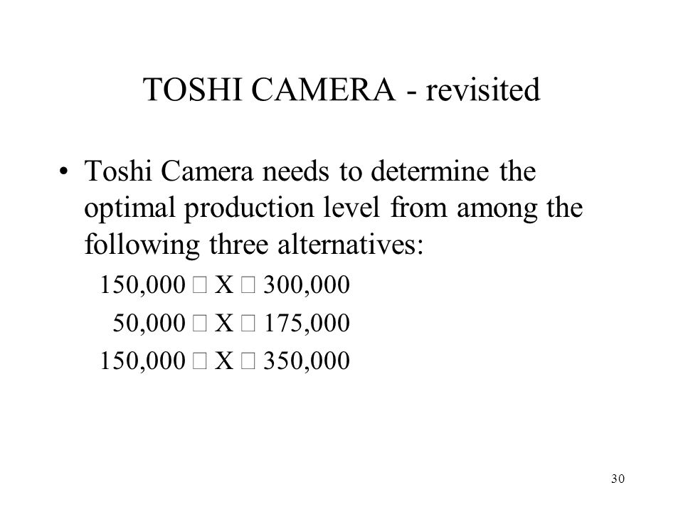 TOSHI CAMERA - revisited Toshi Camera needs to determine the optimal production level from among the following three alternatives: 150,000 X 300,000 5