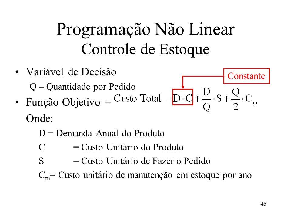 Programação Não Linear Controle de Estoque Constante Variável de Decisão Q – Quantidade por Pedido Função Objetivo = Onde: D = Demanda Anual do Produt