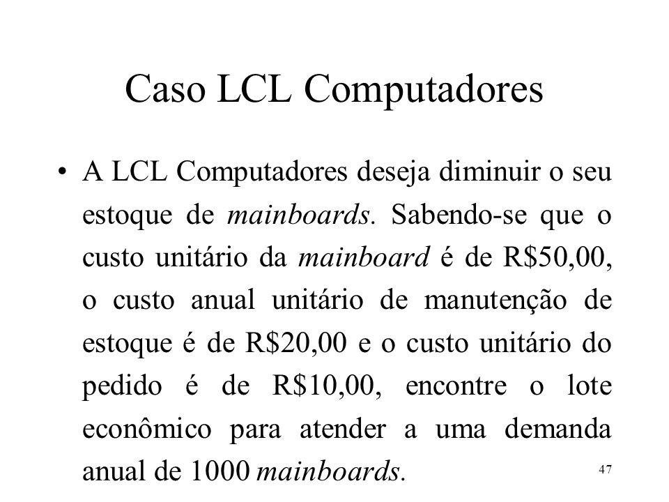 Caso LCL Computadores A LCL Computadores deseja diminuir o seu estoque de mainboards. Sabendo-se que o custo unitário da mainboard é de R$50,00, o cus