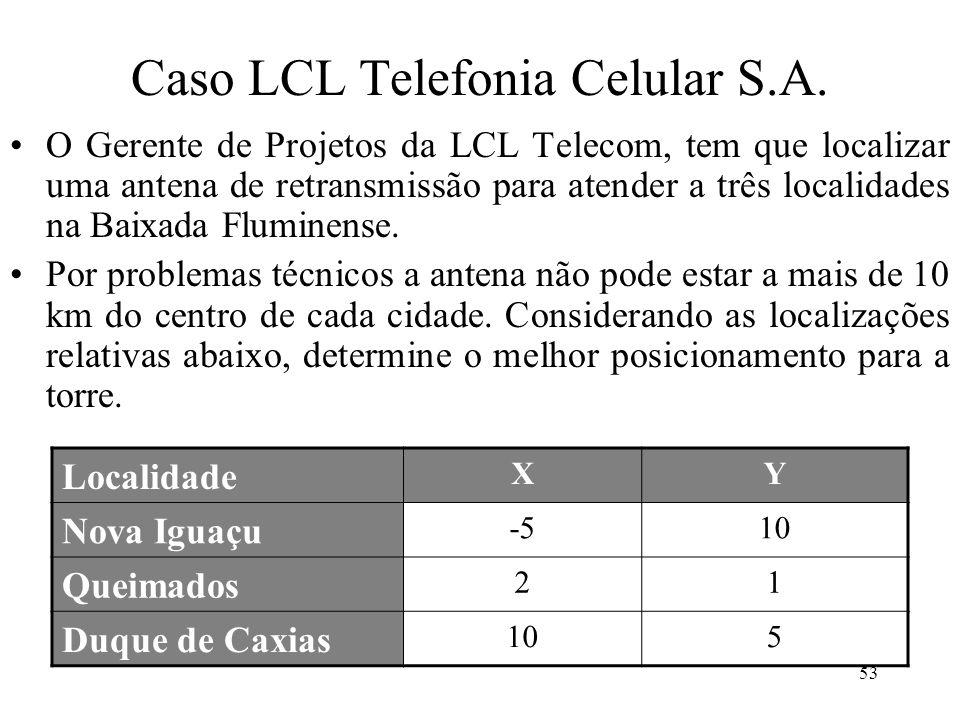Caso LCL Telefonia Celular S.A. Localidade XY Nova Iguaçu -510 Queimados 21 Duque de Caxias 105 O Gerente de Projetos da LCL Telecom, tem que localiza