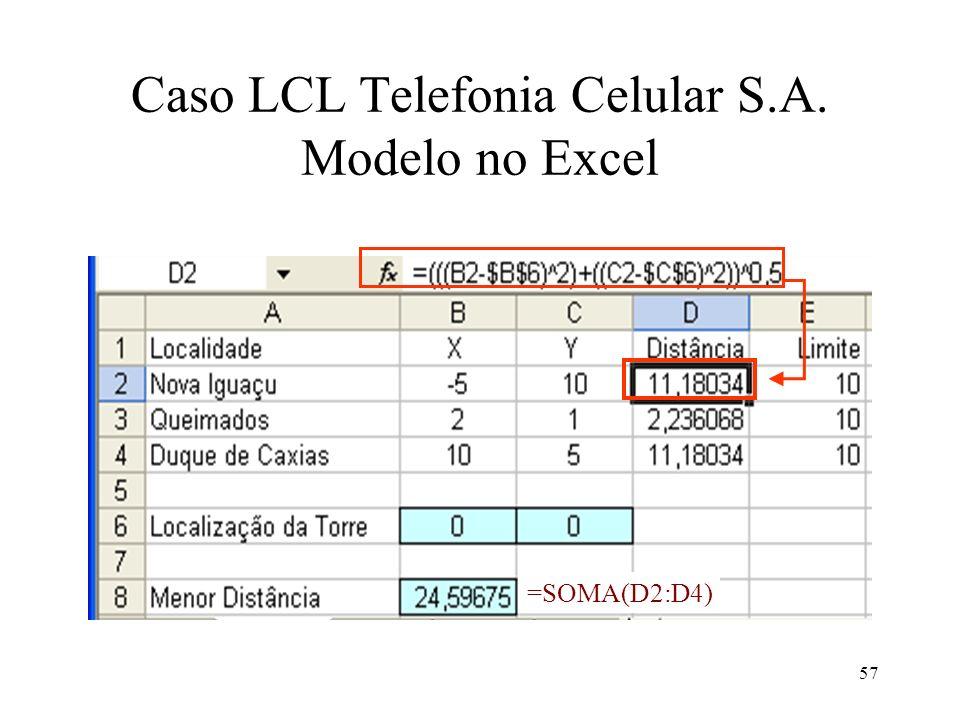 Caso LCL Telefonia Celular S.A. Modelo no Excel =SOMA(D2:D4) 57