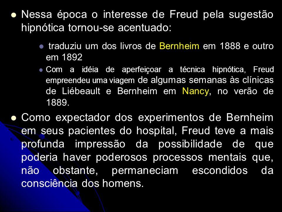 Nessa época o interesse de Freud pela sugestão hipnótica tornou-se acentuado: traduziu um dos livros de Bernheim em 1888 e outro em 1892 Com a idéia d