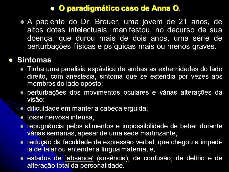 O paradigmático caso de Anna O. O paradigmático caso de Anna O. A paciente do Dr. Breuer, uma jovem de 21 anos, de altos dotes intelectuais, manifesto