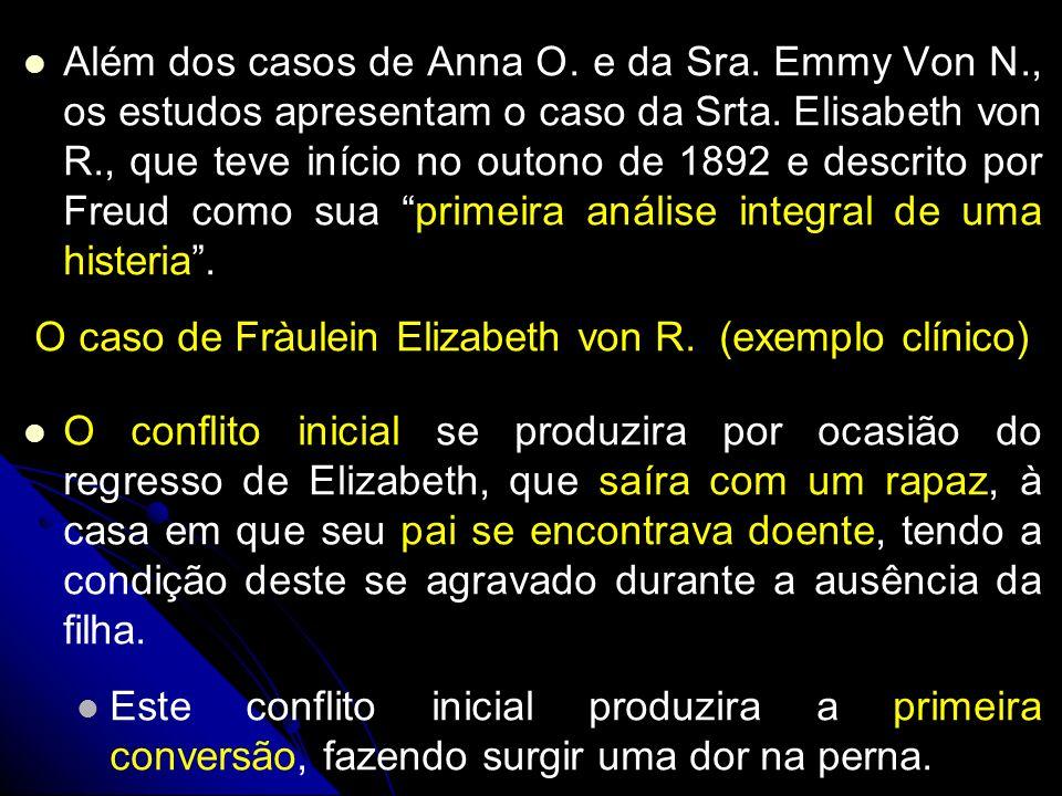 Além dos casos de Anna O. e da Sra. Emmy Von N., os estudos apresentam o caso da Srta. Elisabeth von R., que teve início no outono de 1892 e descrito