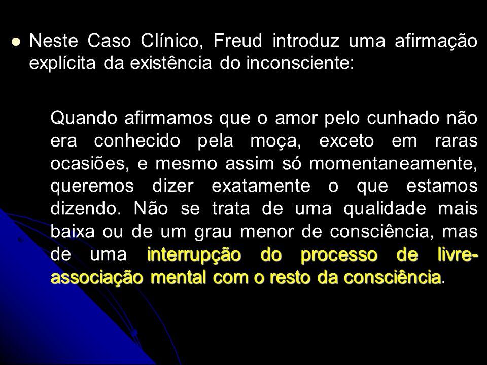 Neste Caso Clínico, Freud introduz uma afirmação explícita da existência do inconsciente: Neste Caso Clínico, Freud introduz uma afirmação explícita d